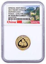 2017 China Mothers Day Heart-Shaped Panda 8g Gold NGC PF70 UC ER Wall SKU47069