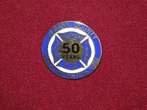 VINTAGE PIN PINBACK 1935 1985 WESTMERE FD FIRE DEPARTMENT 50 YEARS CONVENTION