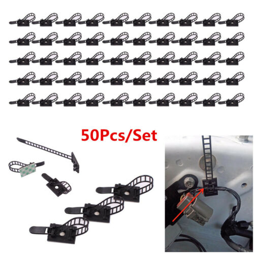 50Pcs Self-Adhesive Adjustable Wire Cable Ties Clamps Fix Arrange Sticker Clips