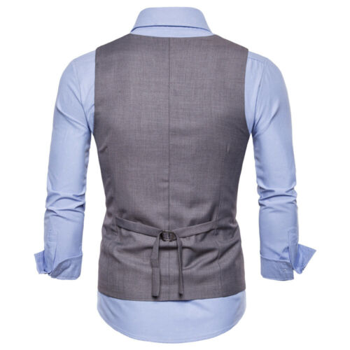 Men/'s Double Breasted Formal Business Slim Suit Vest Waistcoat Party Dress Tops
