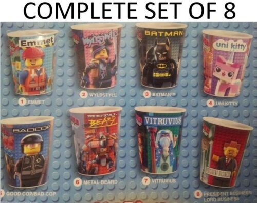 Complete Set Of 8 Mcdonalds 2014 The Lego Movie Cups