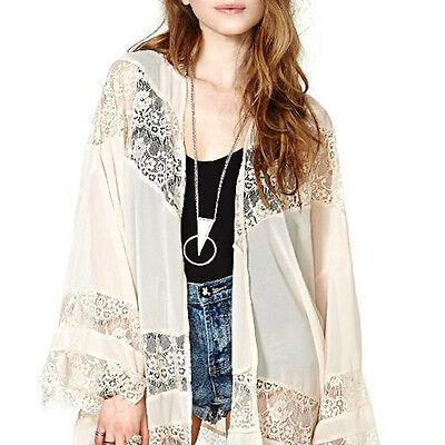 Zanzea Ladies Bohemian Chiffon Kimono Lace Crochet Flower Long Loose Cardigan