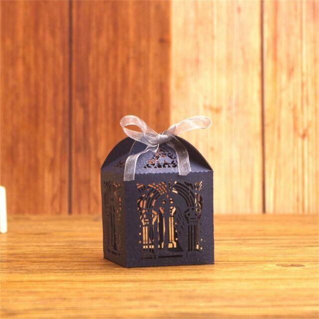 10x6x6cm 50PCS Rustic Sweet Laser Cut Candy Gift Boxes Wedding Party Favour DIY
