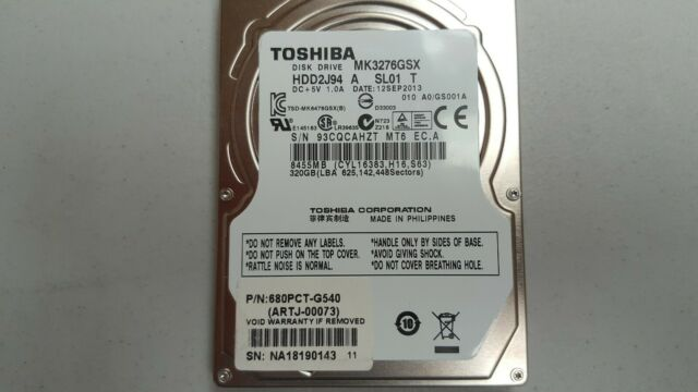 "Toshiba MK3276GSX 2.5"" Internal Hard Drive 320 GB SATA-300 5400 RPM 8MB Cache"