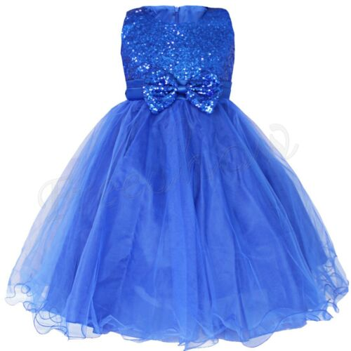 Flower Girl Princess Dress Sequins Pageant Wedding Party Kids Formal Tulle Gown