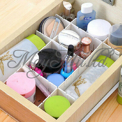 6 Pcs Home White Plastic DIY Grid Drawer Divider Container Storage Organizer G