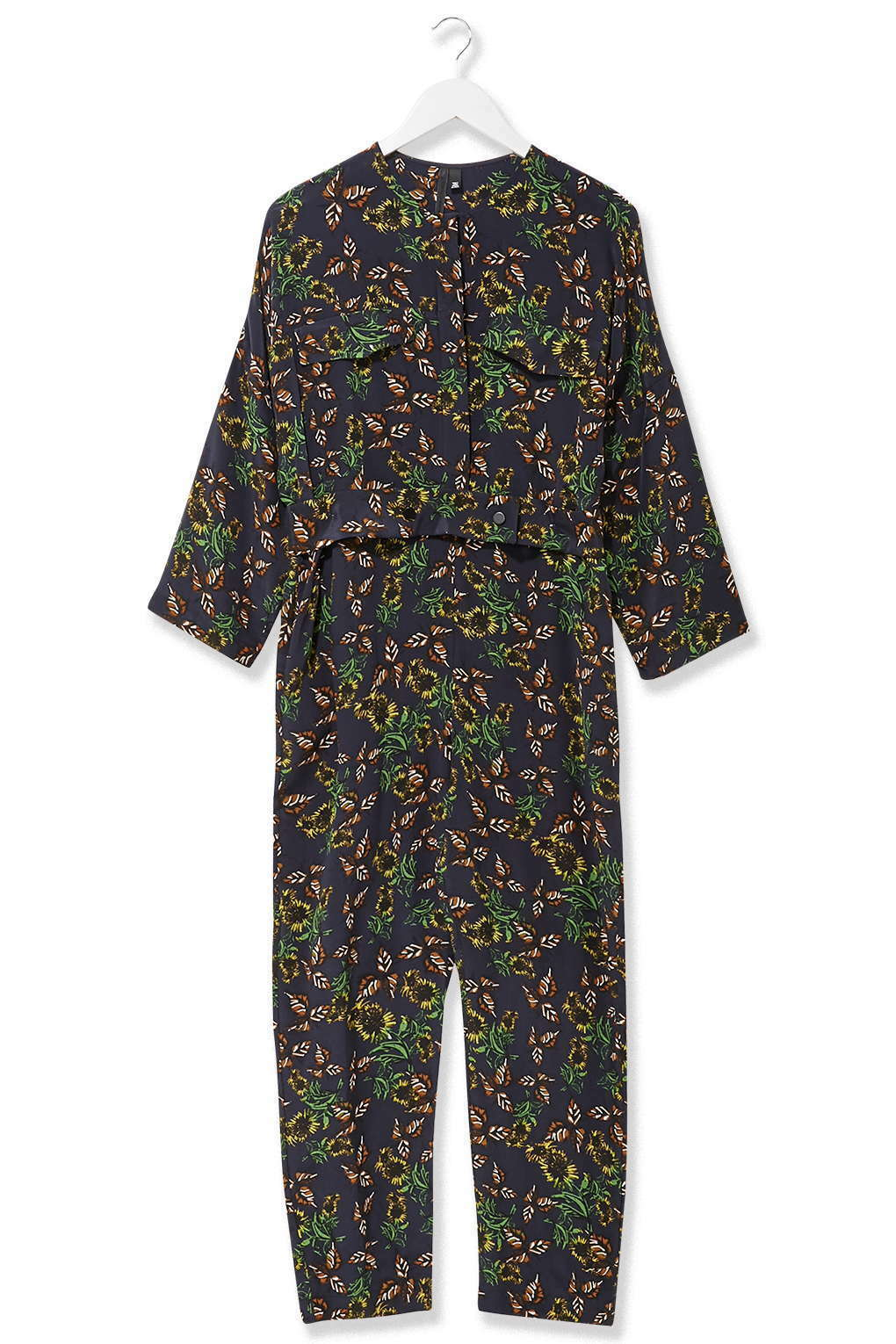 Topshop Boutique 100% Silk Falling Leaf Print Shirt Jumpsuit US 2 4