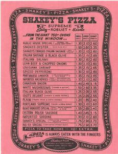 VTG SHAKEY'S PIZZA MENU! ARCADIA & SAN GABRIEL, CA! PRICES! PRICES! GIANT $2.55