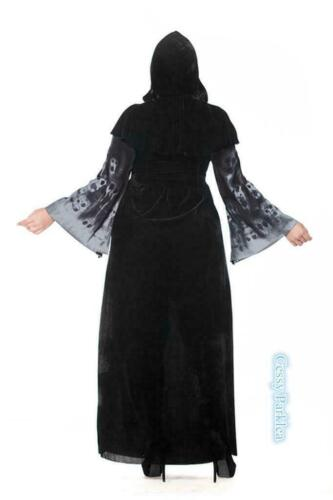 Plus Size Ladies Skeleton Print Zombie Witch Halloween Costume