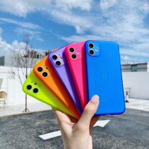 Fluorescent-Matte-Clear-Soft-Case-Cover-For-iPhone-SE-2020-11-Pro-Max-XS-XR-8-7