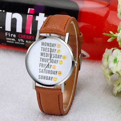 2016 NEW Casual Women Emoji Leather Watch Stainless Steel Quartz Analog Watches