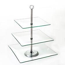 glass buffet serving tray 3 tier party platter dessert stand table centerpiece