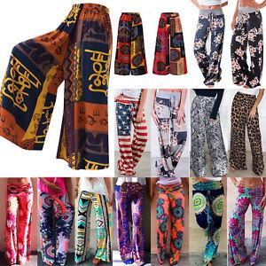 Women-Floral-Print-Boho-Palazzo-Wide-Leg-Trousers-High-Waist-Hippie-Summer-Pants