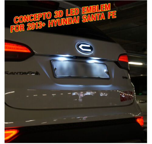 Hyundai Santa Fe DM Sport Front Radiator Rear Trunk 3D LED Emblem For 2013 2014