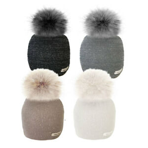Womens Bobble Hats Winter Knitted Hat Beanie Lurex Thread Faux Fur ... ab6473c5ce4