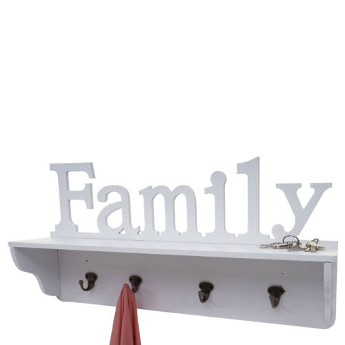 Blanc garde-robe étagère 4 crochets massivement Wandgarderobe mcw-d41 Family