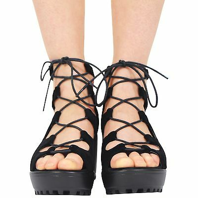 CHILDREN KIDS GIRLS CHUNKY CLEATED SOLE PLATFORM LACE UP BLOCK HEEL SHOES