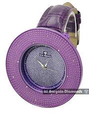 mens big diamond purple ice out clubbing watch purple leather maxx