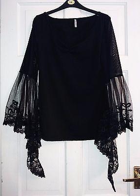Gothic/boho/hippie black lace sleeve top size xl