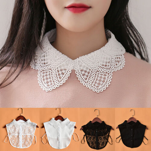 Women WHite Black False Collar Fake Half Shirt Blouse Detachable Fake Collar
