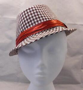 33d7dcd05c82c Child Toddler Trilby Fedora Hat BROWN SMALL CHECK WITH RED BAND ...
