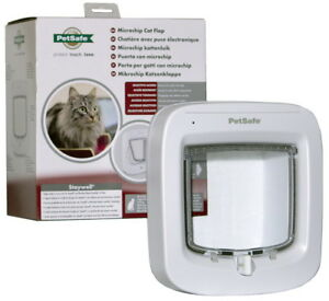 Petsafe-Staywell-Microchip-Cat-Flap-White-Easy-to-Program-Door-with-4-way-lock