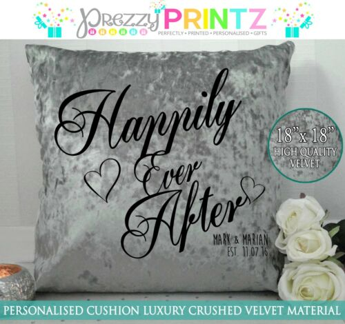 PERSONALISED CUSHION GREY SILVER CRUSHED VELVET GIFT HAPPILY EVER AFTER WEDDING