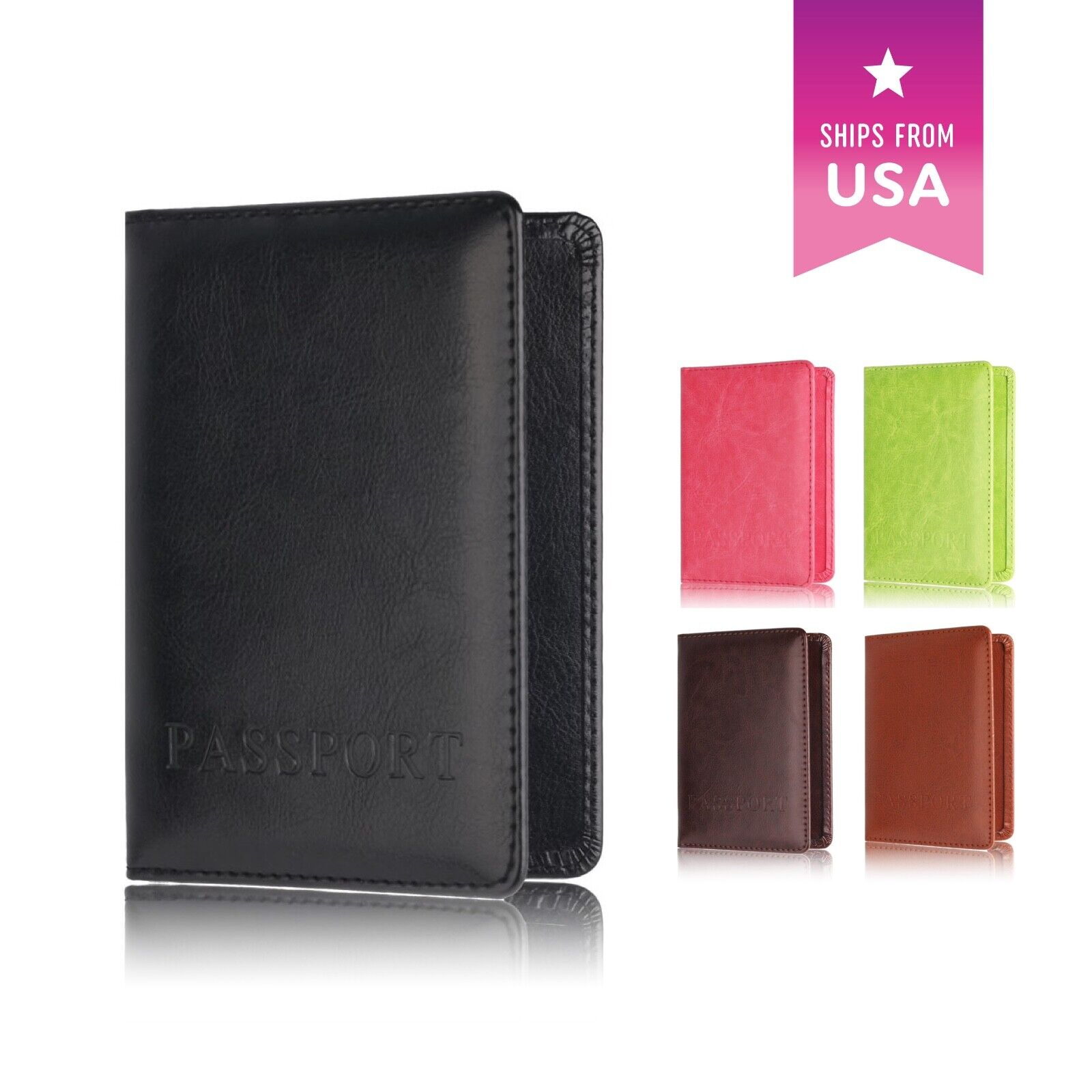 Passport Holder Travel Organizer Cover with Card Case Wallet Soft Vega... - s l1600