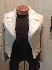 Womens Reversible White Faux Fur Short Jacket One of a Kind Designer Made