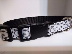 3910320670ac1 Details about Handmade Prada inspired Nylon Dog Collar 2 black print on  white US shipper