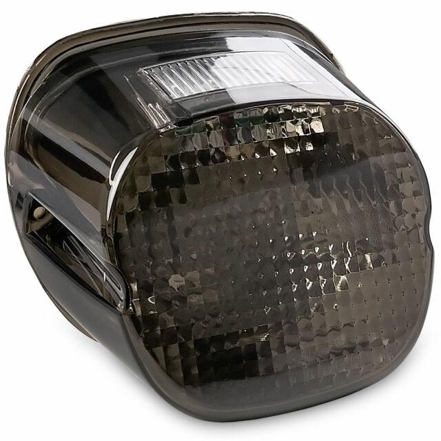 Smoke Lens LED License Plate Taillight W//Chrome Trim Fit Harley Dyna Softail FM
