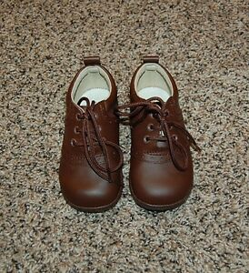 Angel brand boys solid brown leather dress shoes sz toddler 6 7 perfect shape