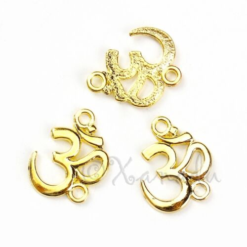 20 Or 50PCs Om Aum Ohm Yoga 21mm Gold Plated Connector Charms C5120-10