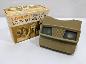 Vintage-pre-1966-Sawyers-VIEW-MASTER-STANDARD-Tan-Stereo-Viewer-No-2014-Orig-Box