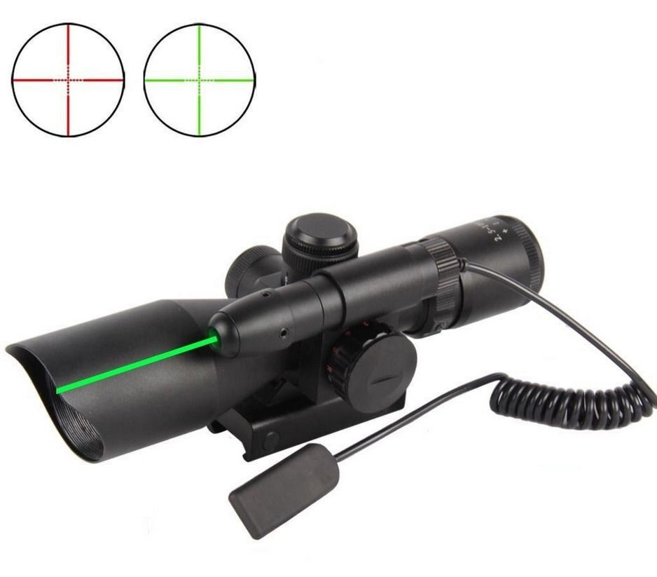 Hunting Tactical 2.5-10x40 Rifle Scope Dual illuminated w  Green Laser Mount