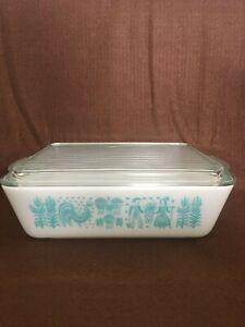 Vintage Pyrex Amish Butterprint Turquoise Blue Casserole Dish & Lid 1 1/ 2 QT
