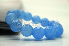 Beautiful 12mm Blue Jade Jadeit Round Beads Gemstone Stretch Bracelet