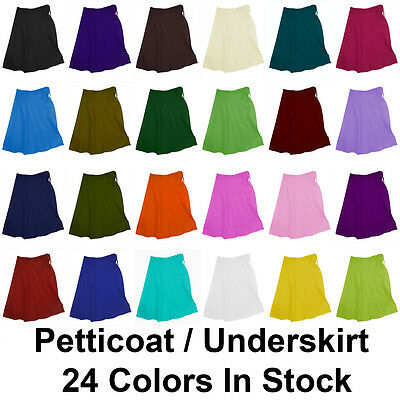 Petticoat Sari Saree Underskirt Pure Cotton Bollywood Indian Matching 24 Colors