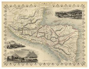 Central-America-Guatemala-Honduras-Nicaragua-illustrated-map-Tallis-ca-1851