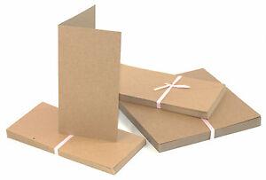 50-x-Klappkarten-amp-Briefumschlaege-Kraftpapier-DIN-LANG-BRAUN-Doppelkarten-DL