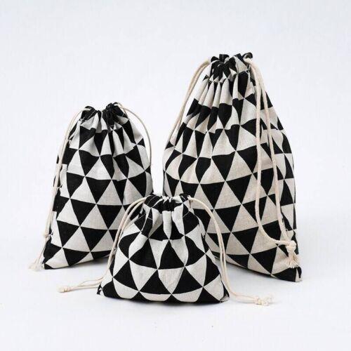 Noir Géométrie en lin avec cordon de serrage Pièce Clé Pochette pour téléphone organisé Sac 8614 S