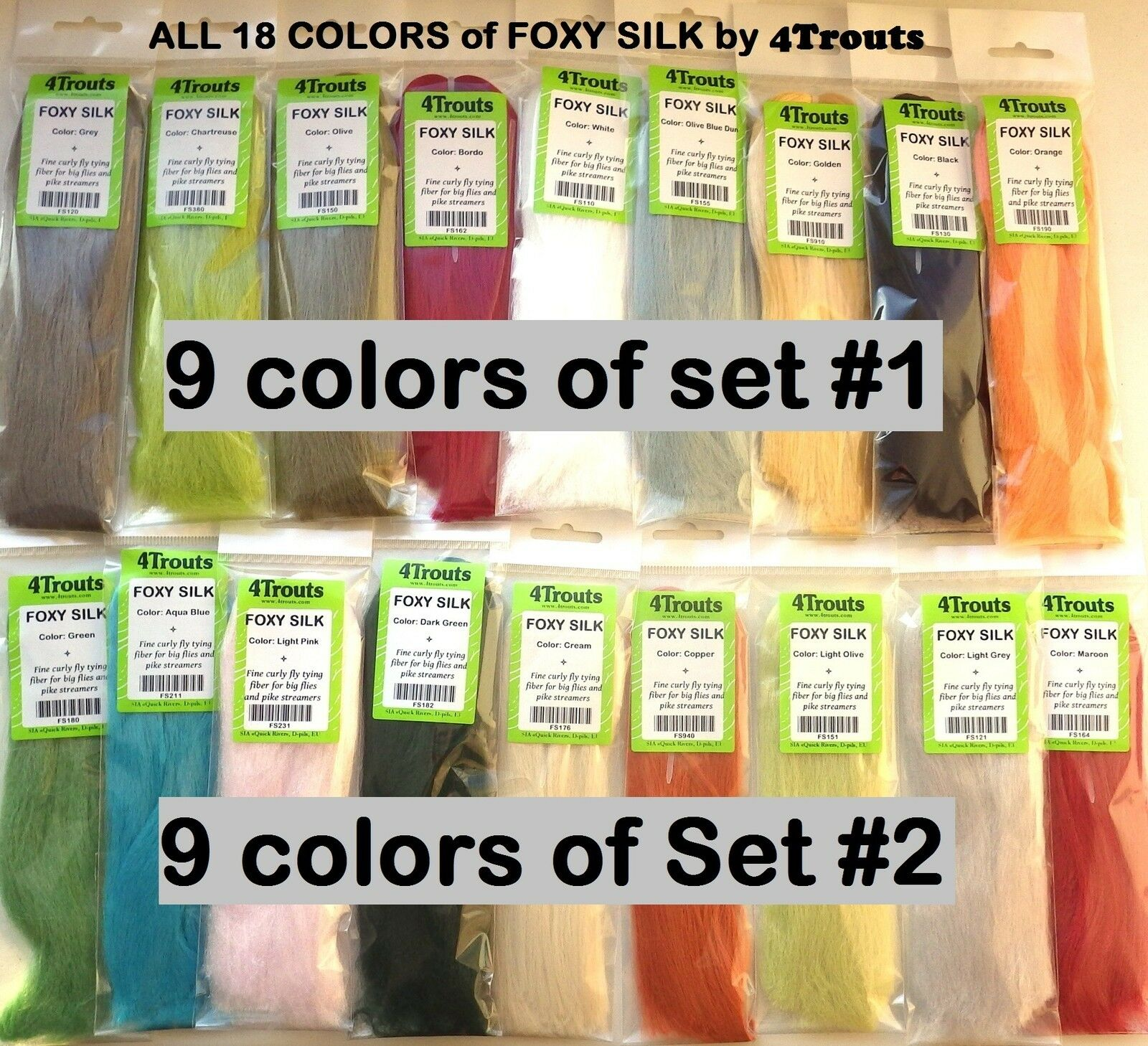 Synthetic Fibre FOXY SILK 4Trouts ALL COLORS  Fly Tying Set of 18 colors  we take customers as our god