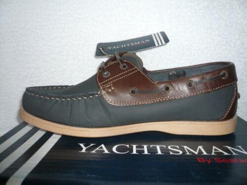 Mens zecca Yachtsman blu marrone pelle Shoes Deck Size di Vera Uk Nuovo Boat 8 rYOrxCa