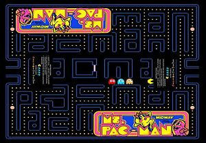 Arcade Classics Cocktail Table Underlay Ms Pac Man 23wide X33