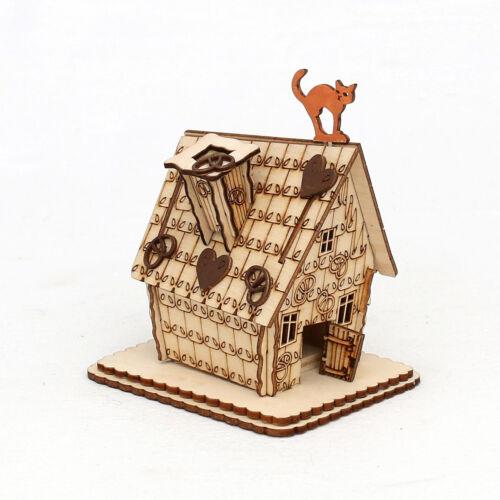 Räucherhaus Pfefferkuchen Haus mit Katze Räuchermann 9 cm Räucherfigur 40591