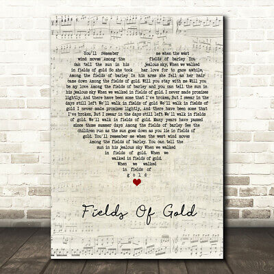 Fields Of Gold Script Heart Quote Song Lyric Print Ebay
