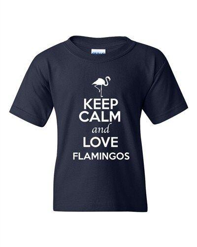 Keep Calm And Love Flamingos Birds Fish Wild Animal Lover Youth Kids T-Shirt Tee