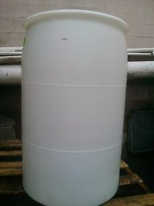 Image Is Loading 55 Gallon Barrel Drum White Plastic Held