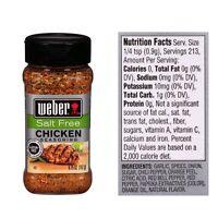 One (1) Weber Salt Free Chicken Seasoning 6.75 Oz Each