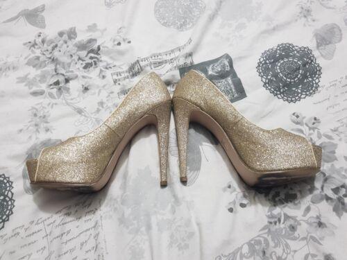 40 oro alti con 7 Stiletto punta Miss con Kurt Kg Geiger glitter Tacchi aperta qaYWfO